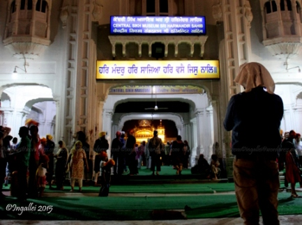 'Central Sikh Museum' can be seen at the main entrance to the Golden Temple (the glowing structure inside)